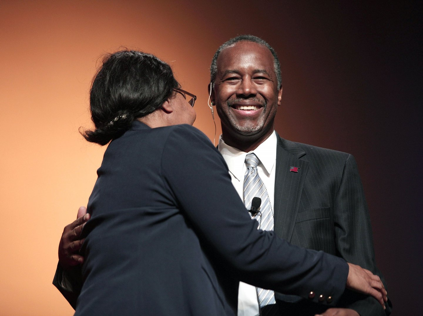DETROIT, MI - MAY 4: Republican Dr. Ben Carson, a retired pediatric neurosurgeon, hugs his wife Candy as he officially announces his candidacy for President of the United States at the Music Hall Center for the Performing Arts May 4, 2015 in Detroit, Michigan. Carson was scheduled to travel today to Iowa, but changed his plans when his mother became critically ill. He now will be traveling to Dallas instead to be with his mother Sonya. (Photo by Bill Pugliano/Getty Images)