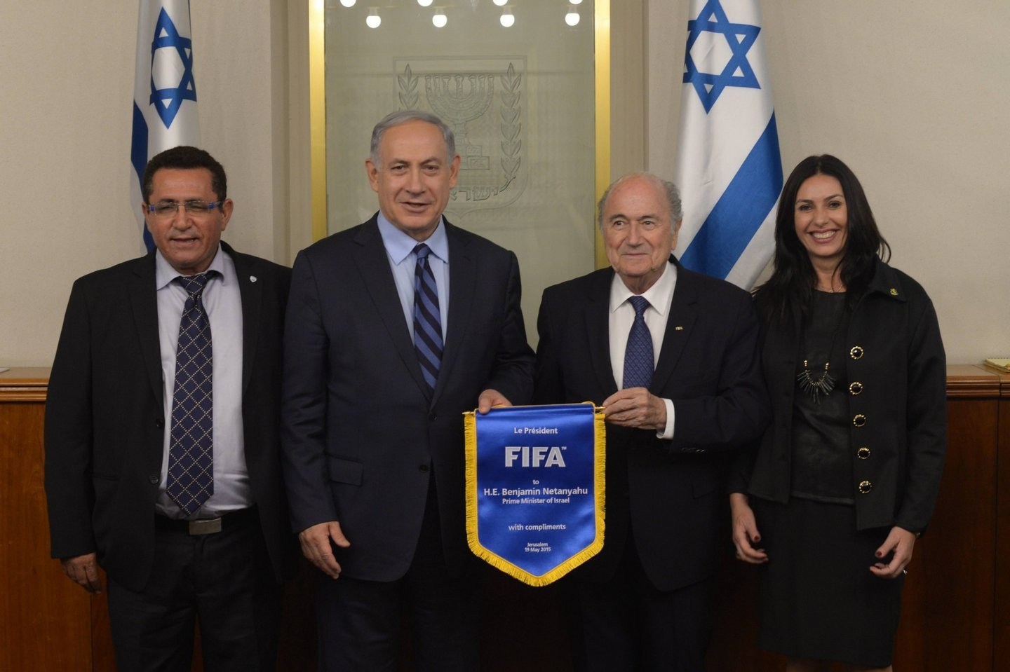 JERUSALEM, ISRAEL - MAY 19: In this handout image provided by the Government Press Office, Prime Minister of Israel Benjamin Netanyahu (2nd L) meets with FIFA president Sepp Blatter (2nd R) May 19, 2015 in Jerusalem, Israel. The two met regarding a possible motion by the Palestinian Football Association to have Israel suspended from FIFA. (Photo by Amos Ben Gershom GPO via Getty Images)