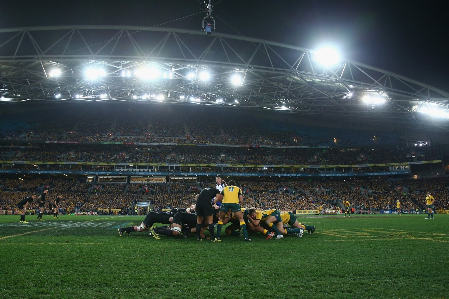 SYDNEY, AUSTRALIA - AUGUST 08: A general view is seen a scrum packs during The Rugby Championship match between the Australia Wallabies and the New Zealand All Blacks at ANZ Stadium on August 8, 2015 in Sydney, Australia. (Photo by Mark Kolbe/Getty Images)