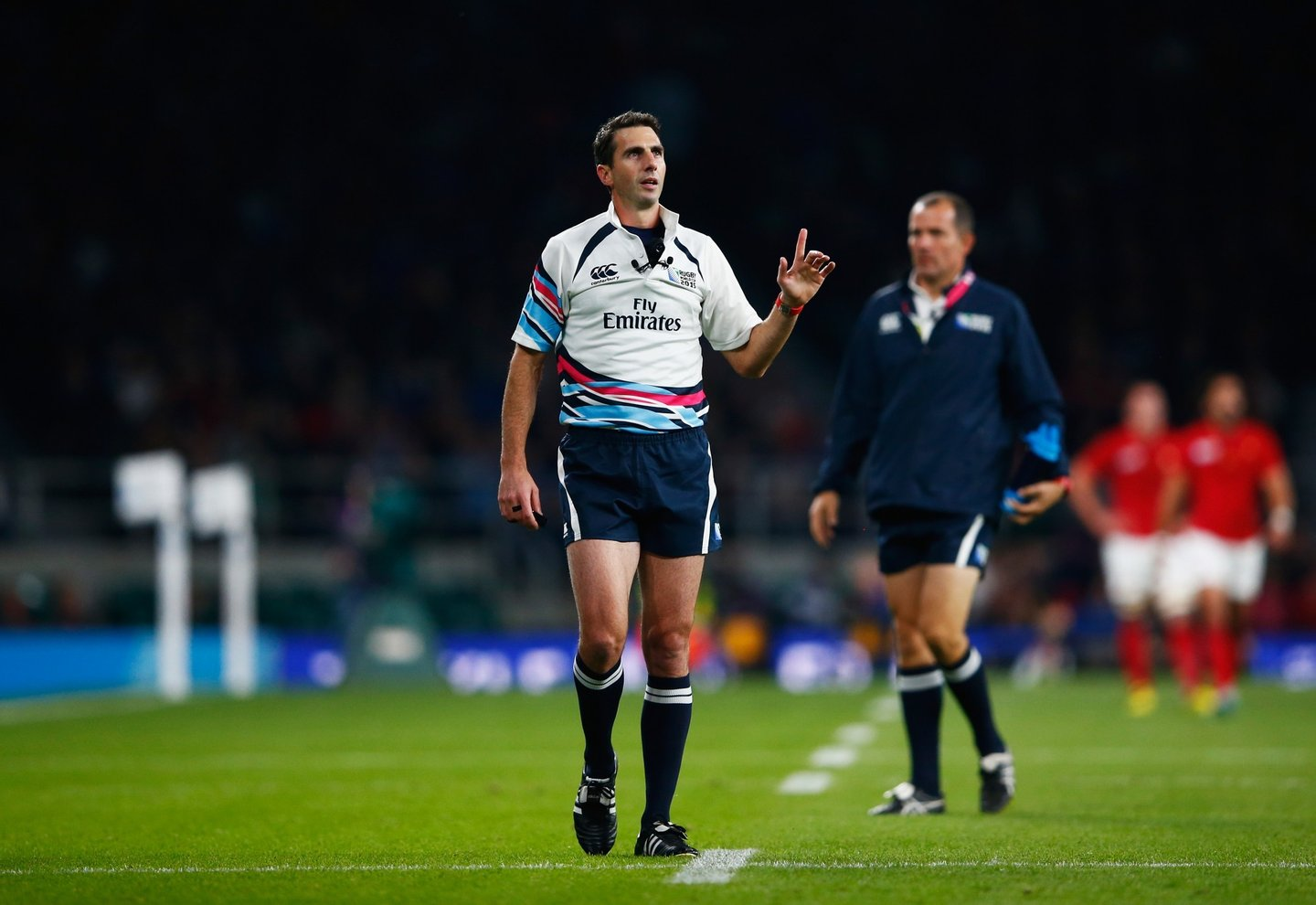 LONDON, ENGLAND - SEPTEMBER 19: Referee Craig Joubert refers a decision to the TMO during the 2015 Rugby World Cup Pool D match between France and Italy at Twickenham Stadium on September 19, 2015 in London, United Kingdom. (Photo by Shaun Botterill/Getty Images)