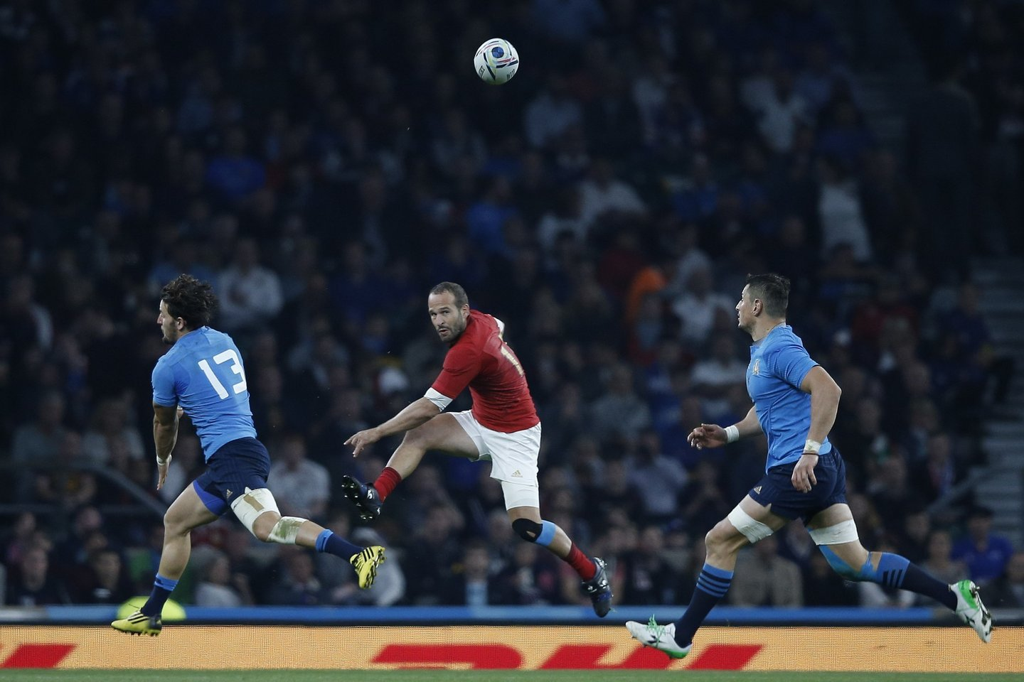 France's fly half Frederic Michalak (C) kicks a clearance during the Pool D match of the 2015 Rugby World Cup between France and Italy at Twickenham stadium, south west London on September 19, 2015. AFP PHOTO / ADRIAN DENNIS RESTRICTED TO EDITORIAL USE, NO USE IN LIVE MATCH TRACKING SERVICES, TO BE USED AS NON-SEQUENTIAL STILLS (Photo credit should read ADRIAN DENNIS/AFP/Getty Images)