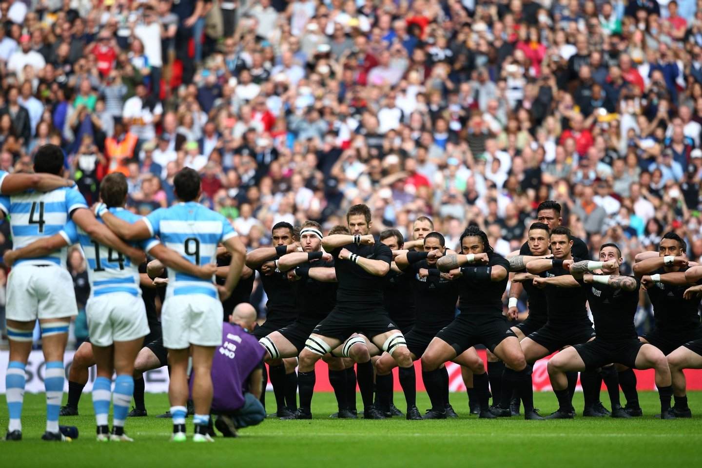 during the 2015 Rugby World Cup Pool C match between New Zealand and Argentina at Wembley Stadium on September 20, 2015 in London, United Kingdom.