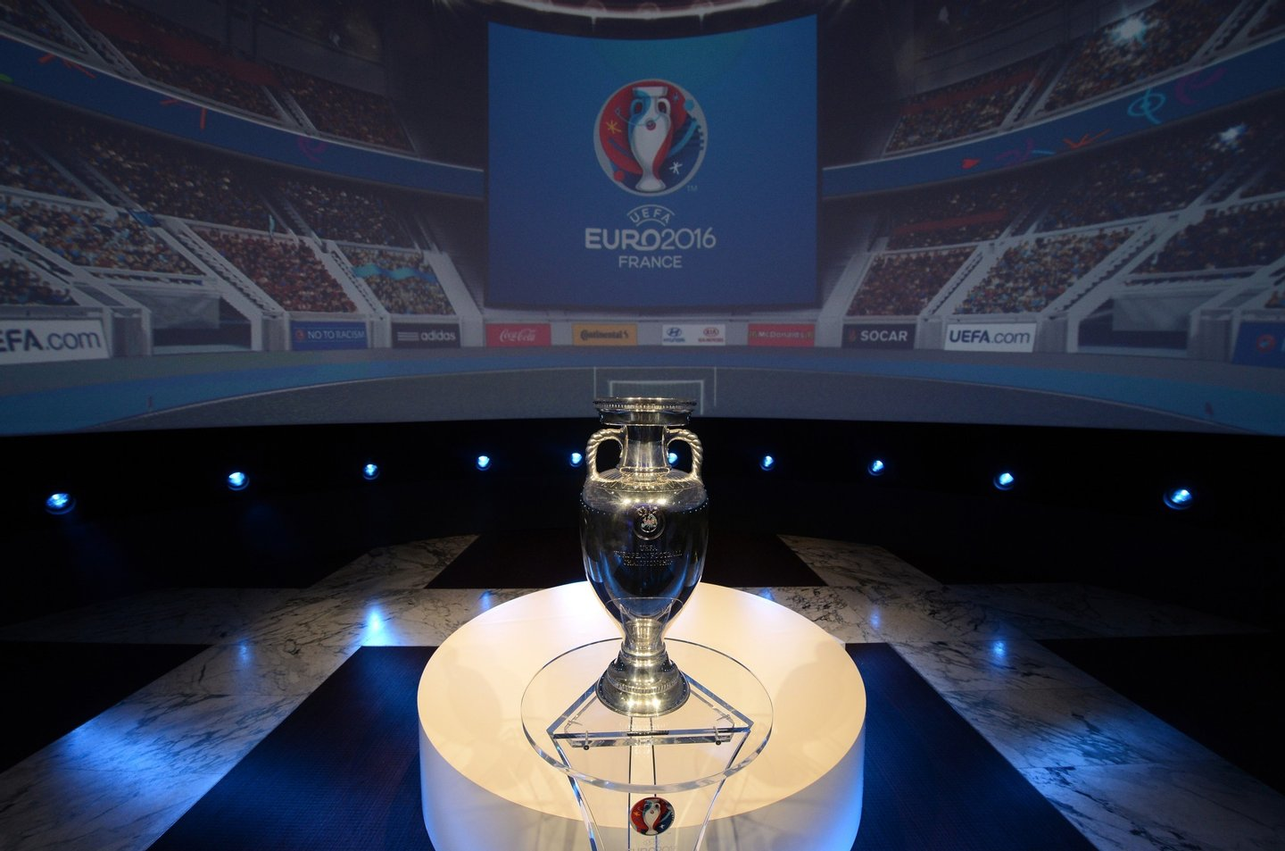The Coupe Henri Delaunay, the trophy of the UEFA European Football Championship, is displayed during a press conference to unveil the Euro 2016 finals logo on June 26, 2013 in Paris. The Euro 2016 event will feature 24 countries for the first time, up from 16 in 2012, and France becomes the first country to stage the European Championship three times. AFP PHOTO / FRANCK FIFE (Photo credit should read FRANCK FIFE/AFP/Getty Images)