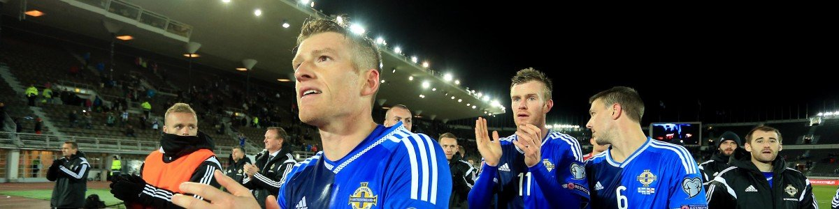HELSINKI, FINLAND - OCTOBER 11: Northern Ireland Captain Steven Davis celebrates after the UEFA EURO 2016 Qualifying match between Finland and Northern Ireland at the Olympic Stadium on October 11, 2015 in Helsinki, Finland. (Photo by Stephen Pond/Getty Images)