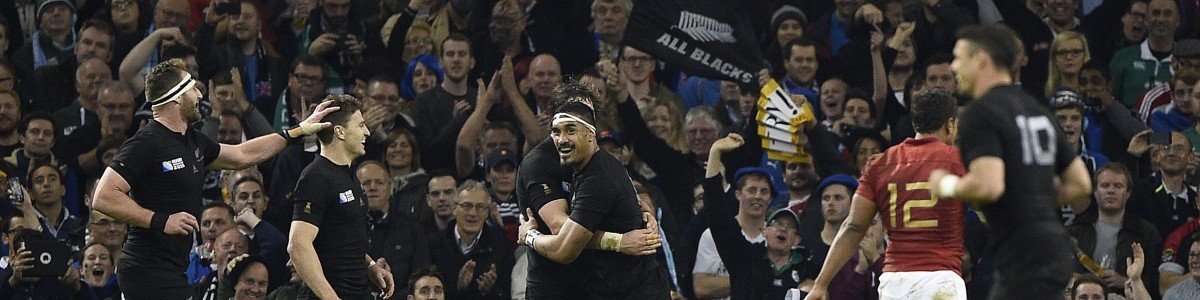 New Zealand's flanker Jerome Kaino (C) celebrates after scoring his team's fifth try during a quarter final match of the 2015 Rugby World Cup between New Zealand and France at the Millennium Stadium in Cardiff, south Wales, on October 17, 2015. AFP PHOTO / DAMIEN MEYER RESTRICTED TO EDITORIAL USE, NO USE IN LIVE MATCH TRACKING SERVICES, TO BE USED AS NON-SEQUENTIAL STILLS (Photo credit should read DAMIEN MEYER/AFP/Getty Images)