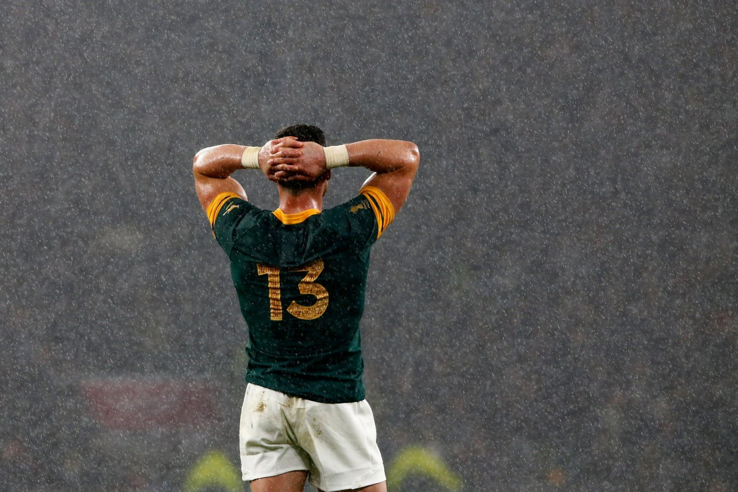 LONDON, ENGLAND - OCTOBER 24: Jesse Kriel of South Africa holds his head in his hands in dejection as the rain falls during the 2015 Rugby World Cup Semi Final match between South Africa and New Zealand at Twickenham Stadium on October 24, 2015 in London, United Kingdom. (Photo by Stu Forster/Getty Images)