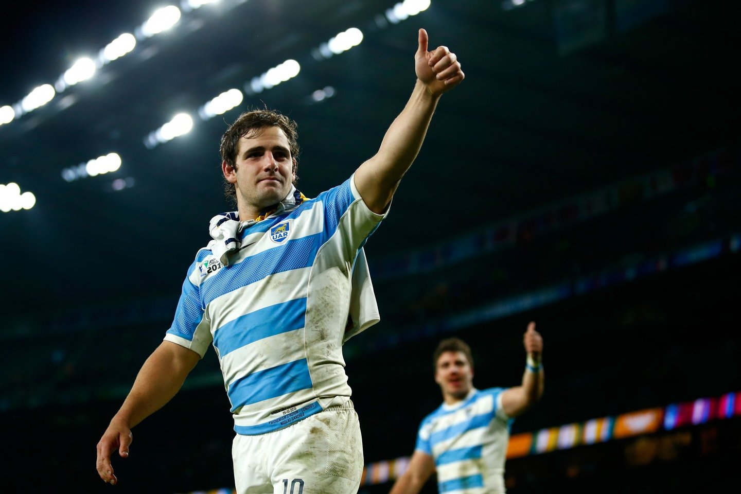 LONDON, ENGLAND - OCTOBER 25: Nicolas Sanchez of Argentina walks around the pitch dejected after losing the 2015 Rugby World Cup Semi Final match between Argentina and Australia at Twickenham Stadium on October 25, 2015 in London, United Kingdom. (Photo by Mike Hewitt/Getty Images)