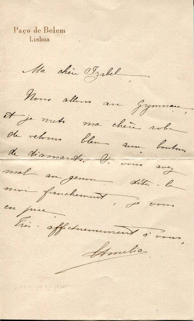Carta Manuscrita - Rainha D. Amélia