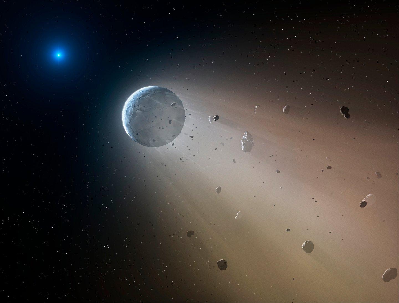 A força gravítica e radiação da anã branca (a azul) provoca a desintegração dos corpos celestes que a orbitam - Vanderburg et al. (2015) Nature