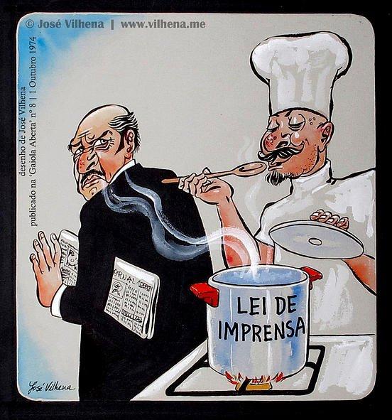 "Cozinha-se a Nova Lei de Imprensa, publicada na ""Gaiola Aberta"" nº 8, a 1 de outubro a 1974"