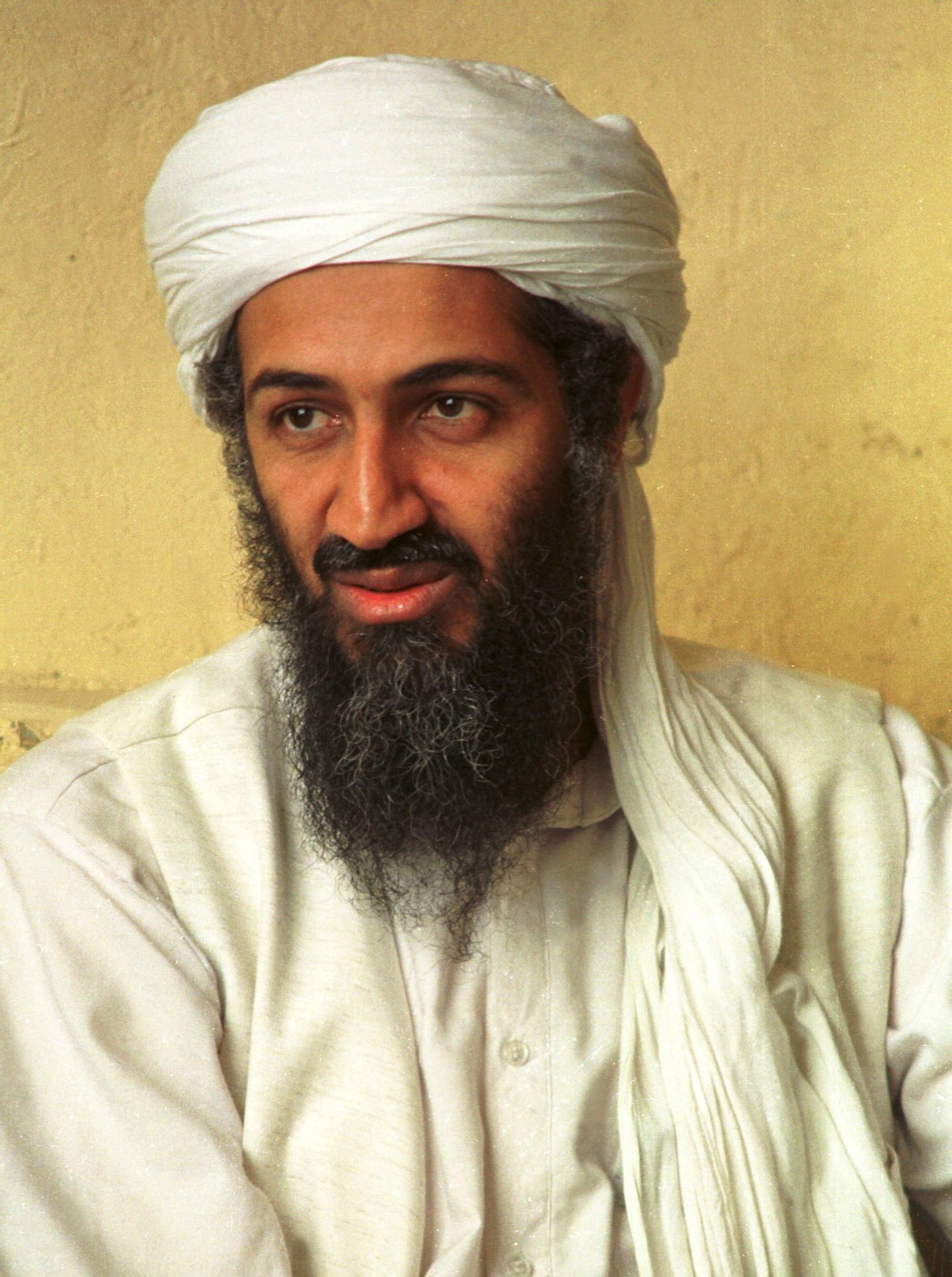"395617 01: (FILE PHOTO) Saudi dissident Osama bin Laden in an undated photo. October 10, 2001. Afghanistan's ruling Taliban lifted restrictions on Bin Laden, giving him permission to conduct ""Jihad,"" or holy war, against Afghanistan's enemies. (Photo by Getty Images)"