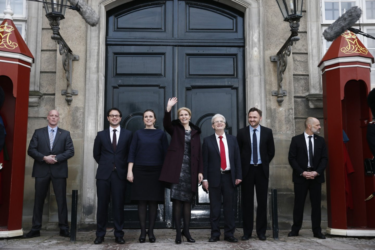 Danish Prime minister Helle Thorning-Schmidt (C) poses with her new cabinet, (2nd from L) minister of Tax Jonas Dahl, minister of Justice Karen Haekkerup, Forein Affairs minister Holger K. Nielsen and minister for Food and Agriculture, Dan Joergensen after presentation at Amalienborg on December 12, 2013 in Copenhagen. AFP PHOTO / Scanpix Denmark / JENS ASTRUP / DENMARK OUT (Photo credit should read JENS ASTRUP/AFP/Getty Images)