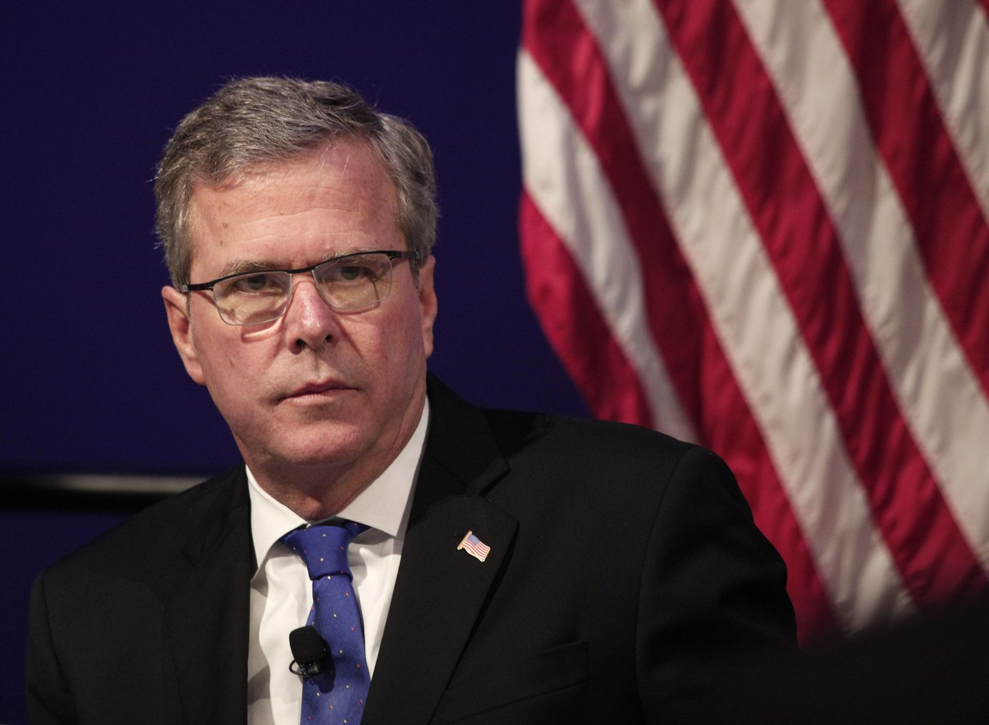 DETROIT, MI - FEBRUARY 4: Former Florida Governor Jeb Bush waits to speak at the Detroit Economic Club February 4, 2015 in Detroit, Michigan. Bush, the son of former republican President George H.W. Bush and the brother of former republican President George W. Bush, is considering becoming a republican candidate for the 2016 presidential election. (Photo by Bill Pugliano/Getty Images)