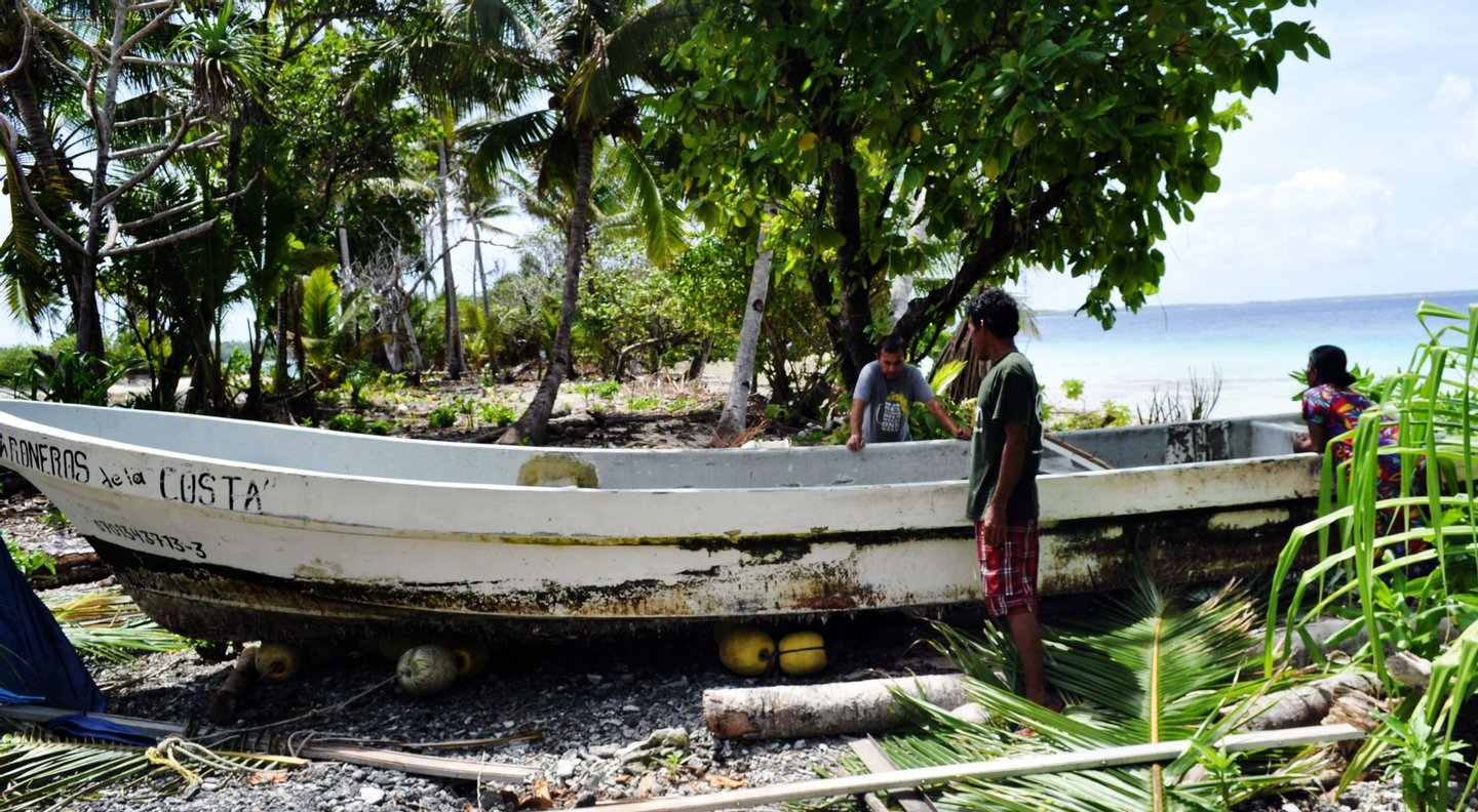 A photo obtained on February 6, 2014 shows the claimed boat of Pacific castaway Jose Salvador Alvarenga of El Salvador shortly after his January 30 arrival on the remote Ebon Atoll in the Marshall Islands. Alvarenga was born in El Salvador but had lived for years in Mexico, where he says he set off on a fishing trip in late 2012 before becoming lost and drifting some 12,500-kilometres (8,000-miles) to the Marshalls in a small boat. The 37-year-old said he survived by eating raw fish and birds as well as drinking turtle blood, urine and rainwater for 13 months, but a teenage companion named Ezequiel starved to death during the ordeal. AFP PHOTO (Photo credit should read STR/AFP/Getty Images)