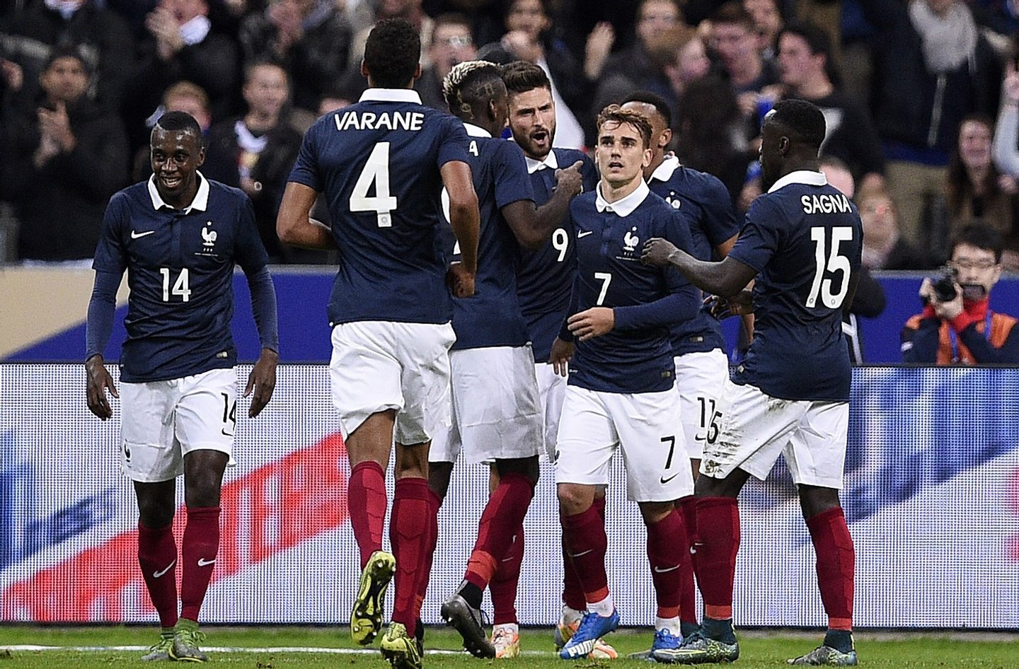 (From L) French midfielder Blaise Matuidi, French defender Raphael Varane, French midfielder Paul Pogba, French forward Olivier Giroud, French midfielder Antoine Griezmann and French defender Bacary Sagna celebrate after Giroud opened the scoring during a friendly international football match between France and Germany ahead of the Euro 2016, on November 13, 2015 at the Stade de France stadium in Saint-Denis, north of Paris. AFP PHOTO / FRANCK FIFE (Photo credit should read FRANCK FIFE/AFP/Getty Images)