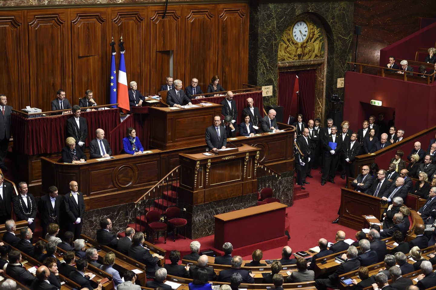 French President Francois Hollande delivers a speech to members of Parliament during an exceptional joint gathering of Parliament in Versailles on November 16, 2015, three days after 129 people were killed in the worst terrorist attack in France's history. AFP PHOTO / POOL / ERIC FEFERBERG (Photo credit should read ERIC FEFERBERG/AFP/Getty Images)