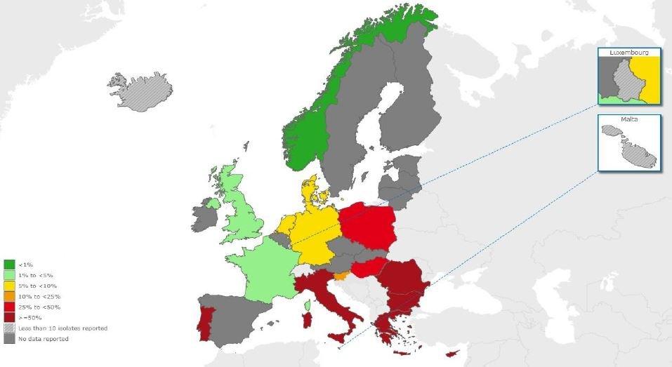Acinetobacter spp resistant to carbapenems_2012_EARS-Net ECDC