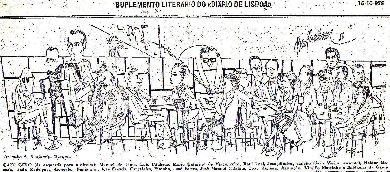 Dos tempos do café Gelo sobra este cartoon feito por Benjamim Marques, com os seus ilustres membros
