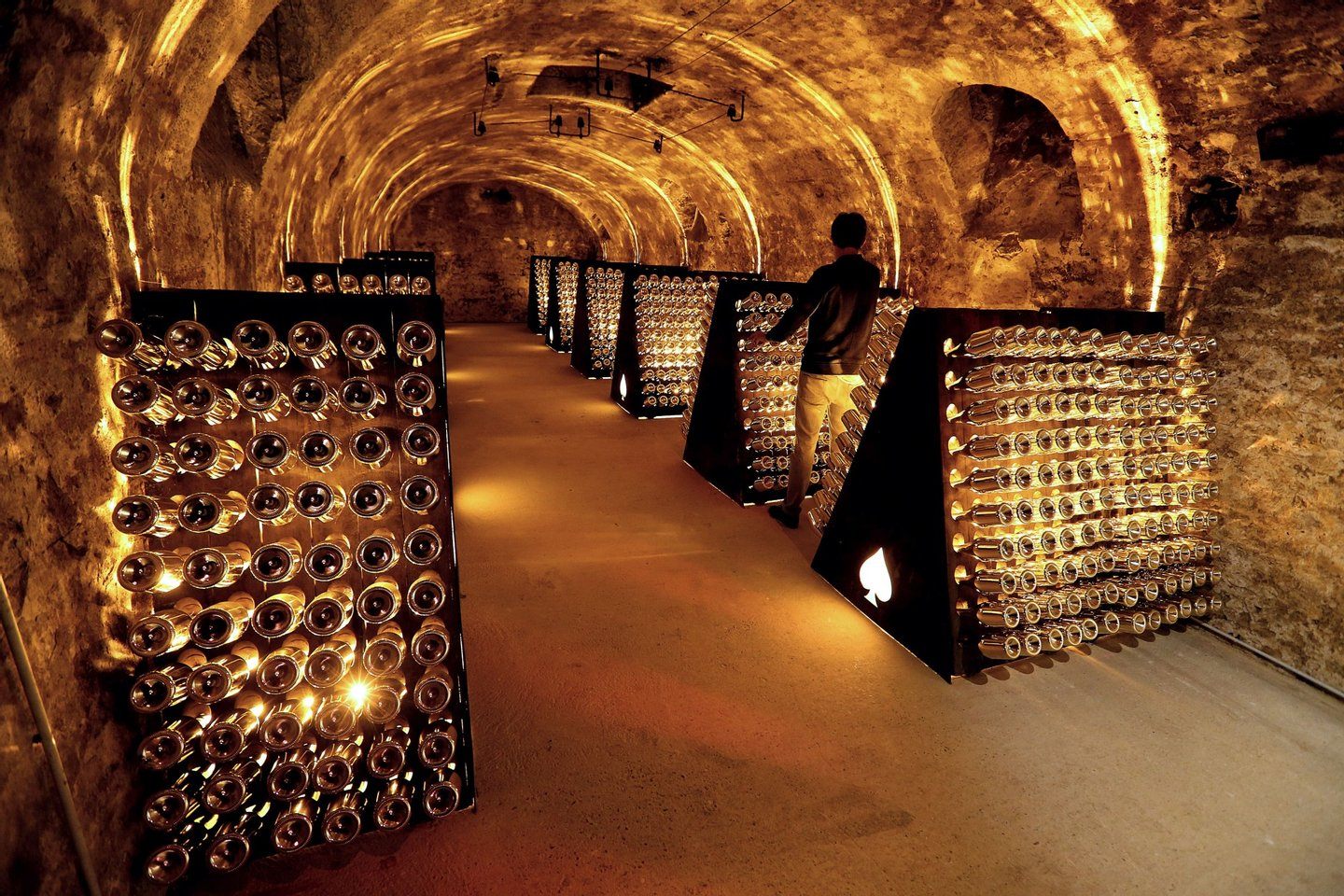 "Bottles of ""Armand de Brignac"" Champagne are seen in the cellars of the Cattier champagne family house on November 6, 2014 in Chigny-les-Roses, south of Reims, northeastern France. Hip-hop mogul Jay Z has shown his fondness for Armand de Brignac Champagne for years and on November 5, 2014 he bought the brand. Sovereign Brands, a New York-based wine and spirits company which owned the label, said it was selling it to Jay Z for an undisclosed amount. AFP PHOTO / FRANCOIS NASCIMBENI (Photo credit should read FRANCOIS NASCIMBENI/AFP/Getty Images)"