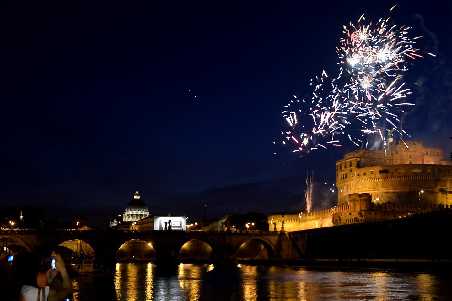 Fireworks burst in the sky over the Castel Sant'Angelo during the traditional 'Girandola', the feast of Romes patron St Peter and Paul, on June 29, 2015 in Rome. AFP PHOTO / TIZIANA FABI (Photo credit should read TIZIANA FABI/AFP/Getty Images)