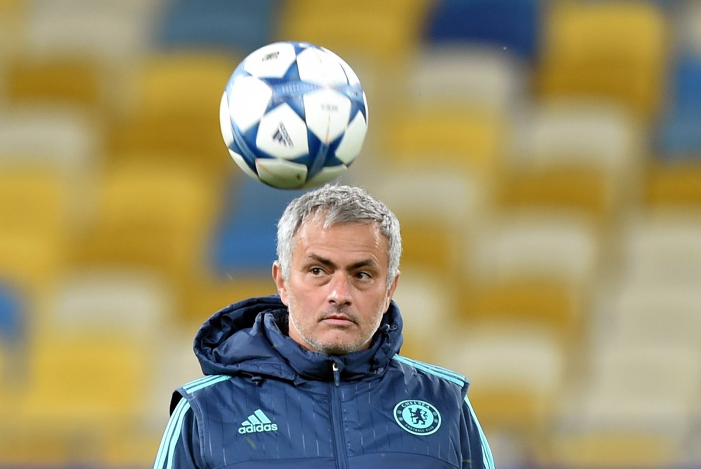 Chelsea's Portuguese coach Jose Mourinho kicks a ball during a training session at Olimpiskiy Stadium in Kiev on October 19, 2015, a day before their Champion's League Group G football match against FC Dinamo. AFP PHOTO / SERGEI SUPINSKY (Photo credit should read SERGEI SUPINSKY/AFP/Getty Images)