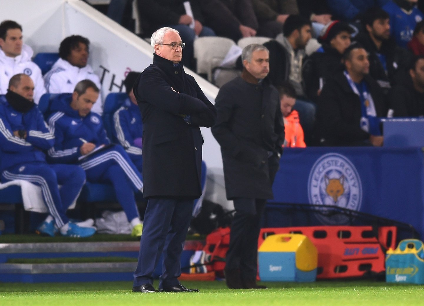 LEICESTER, ENGLAND - DECEMBER 14: (l-R) Claudio Rainieri the manager of Leicester City and Jose Mourinho the manager of Chelsea look on during the Barclays Premier League match between Leicester City and Chelsea at the King Power Stadium on December14, 2015 in Leicester, United Kingdom. (Photo by Michael Regan/Getty Images)