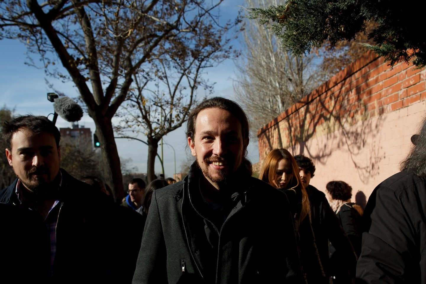 MADRID, SPAIN - DECEMBER 20: Podemos (We Can) leader Pablo Iglesias looks on as he walks after casting his vote at a polling station on December 20, 2015 in Madrid, Spain. Spaniards went to the polls today to vote for 350 members of the parliament and 208 senators. For the first time since 1982, the two traditional Spanish political parties, right-wing Partido Popular (People's Party) and centre-left wing Partido Socialista Obrero Espanol PSOE (Spanish Socialist Workers' Party), held a tight election race with two new contenders, Ciudadanos (Citizens) and Podemos (We Can) attracting right-leaning and left-leaning voters respectively. (Photo by Pablo Blazquez Dominguez/Getty Images)