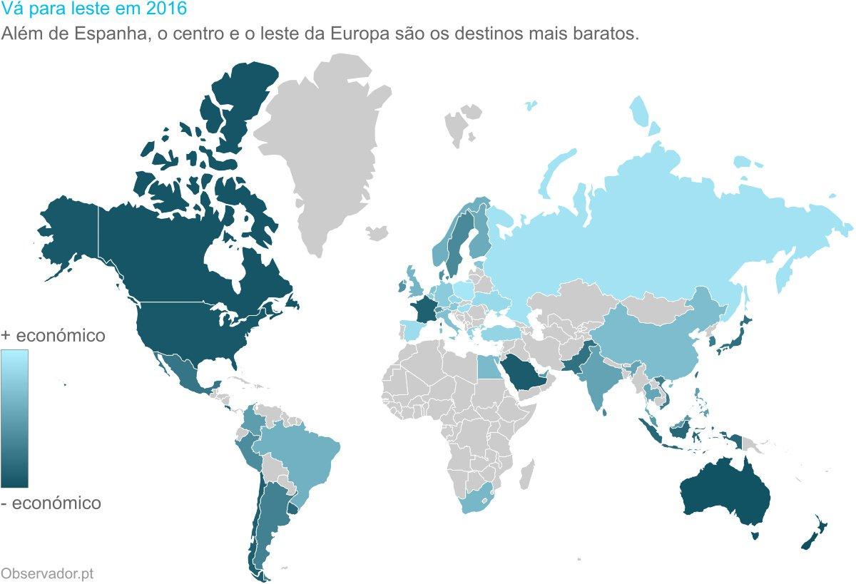 Vá para leste em 2016: Além de Espanha, o centro e o leste da Europa são os destinos mais baratos.