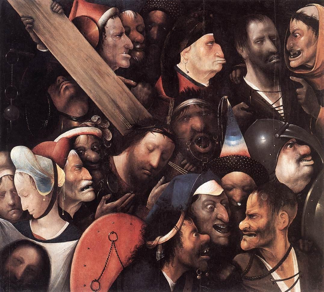 Jesus rodeado de predadores. Hieronymus Bosch (ou um seu discípulo), c.1510-35