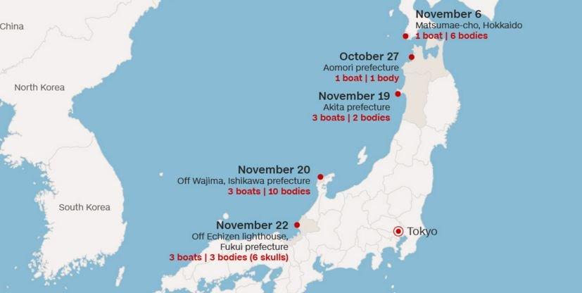 mapa barcos que chegam ao Japão