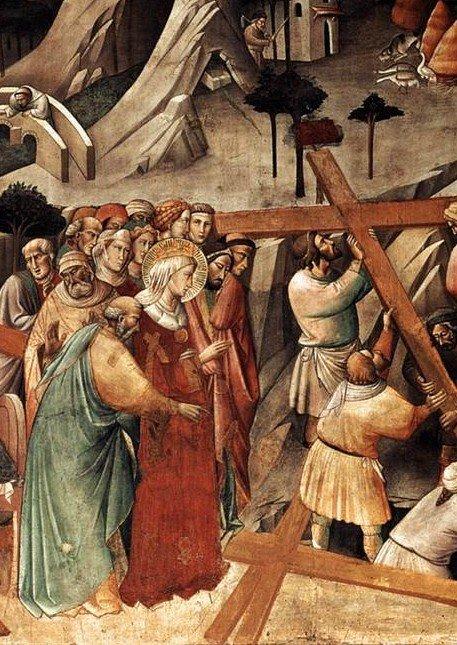 O achamento da Vera Cruz em Jerusalém pela imperatriz Helena, mãe de Constantino. Agnolo Gadi, 1380