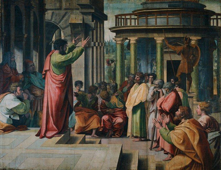 Paulo pregando em Atenas. Rafael, 1515