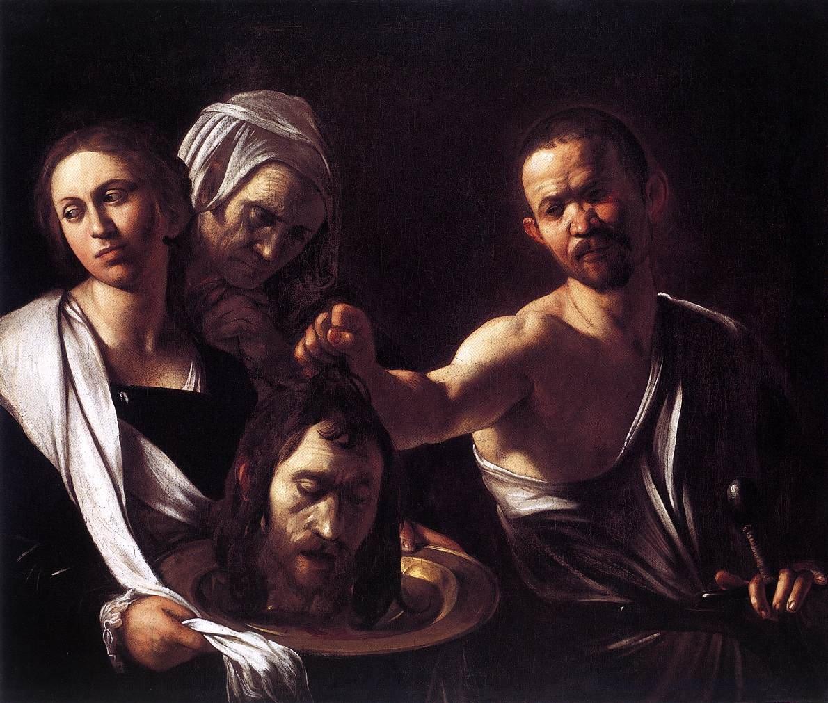 Uma das duas versões de Caravaggio para Salomé com a cabeça de S. João Baptista. Esta é a versão de c. 1607 que está na National Gallery de Londres, a outra está em Madrid