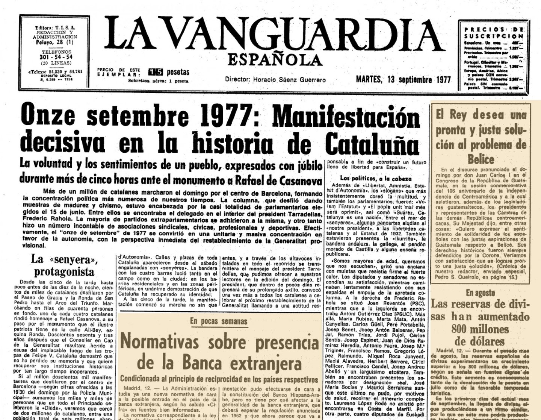Em 15 de junho de 1977 celebraram-se na Espanha as primeiras eleições legislativas democráticas após a proclamação de Juan Carlos I como rei da Espanha. Os deputados e senadores eleitos pela Catalunha pertenciam aos partidos que incluíam nos seus programas a reivindicação de um estatuto de autonomia e o restabelecimento da Generalitat. Esta vontade popular foi ratificada na Diada (festa) nacional de 11 de setembro de 1977. Um milhão de cidadãos desfilaram pacificamente pelo centro de Barcelona, capital da Catalunha, numa das maiores manifestações da história da Europa contemporânea.