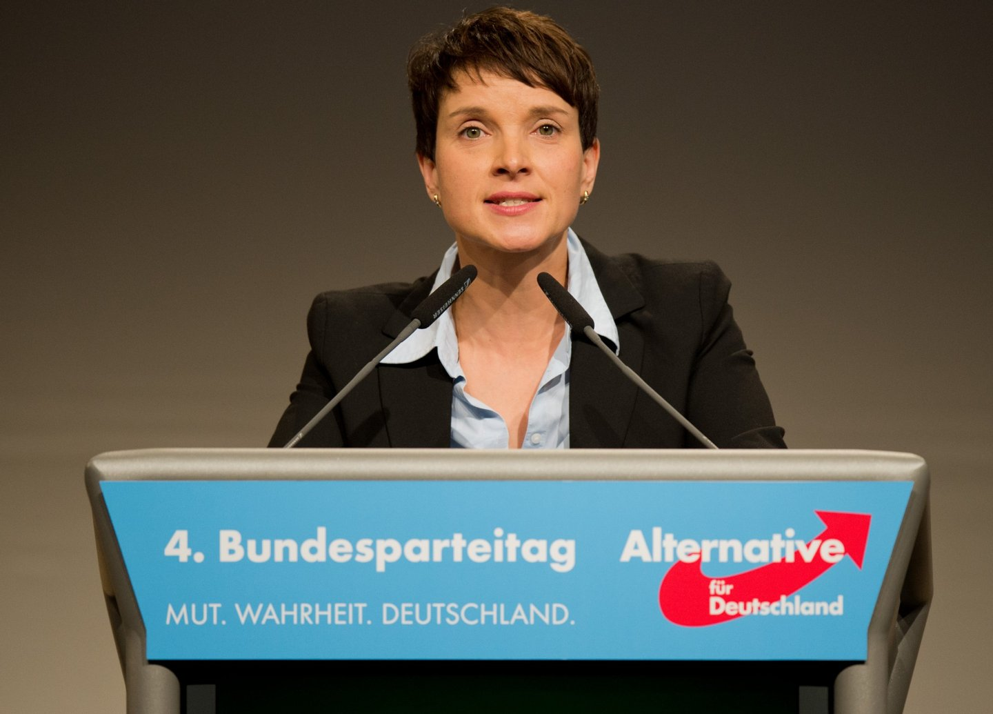 Leader of populist-nationalist Alternative for Germany (AfD) party, Frauke Petry delivers a speech at the party's congress in Hannover, central Germany, on November 28, 2015. AFP PHOTO / DPA / JULIAN STRATENSCHULTE GERMANY OUT / AFP / DPA / JULIAN STRATENSCHULTE (Photo credit should read JULIAN STRATENSCHULTE/AFP/Getty Images)
