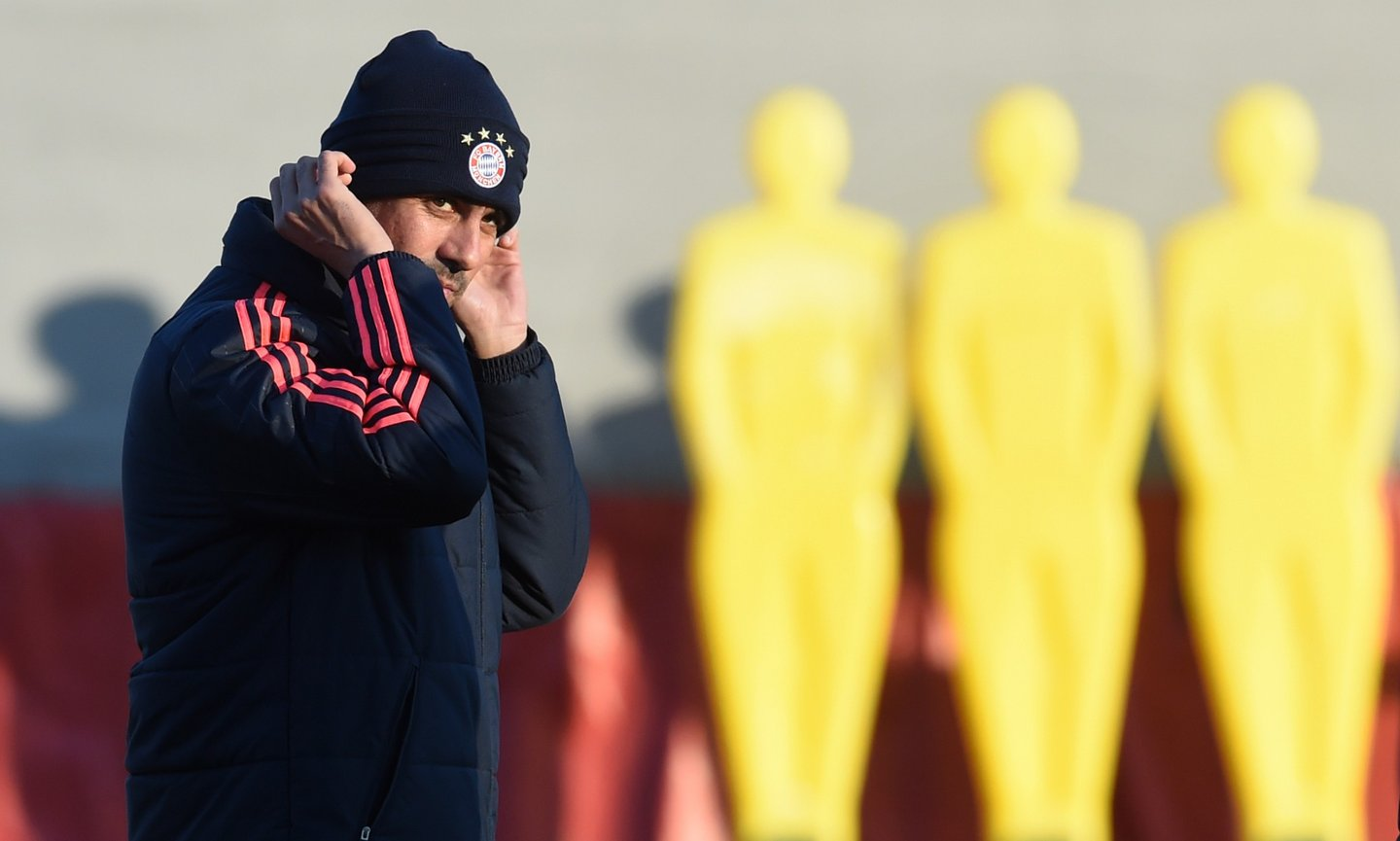 Bayern Munich's Spanish headcoach Pep Guardiola arrives for the training session on the eve of the UEFA Champions League Group F football match between Bayern Munich and Olympiakos Piraeus in Munich, southern Germany, on November 23, 2015. AFP PHOTO / CHRISTOF STACHE / AFP / CHRISTOF STACHE (Photo credit should read CHRISTOF STACHE/AFP/Getty Images)