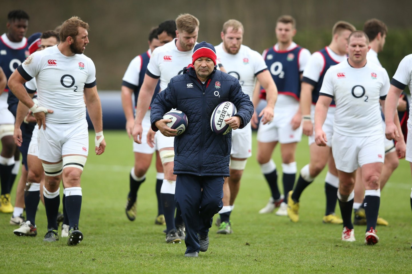 BAGSHOT, ENGLAND - FEBRUARY 04: Eddie Jones, the England head coach, looks on during the England training session held at Pennyhill Park on February 4, 2016 in Bagshot, England. (Photo by David Rogers/Getty Images)