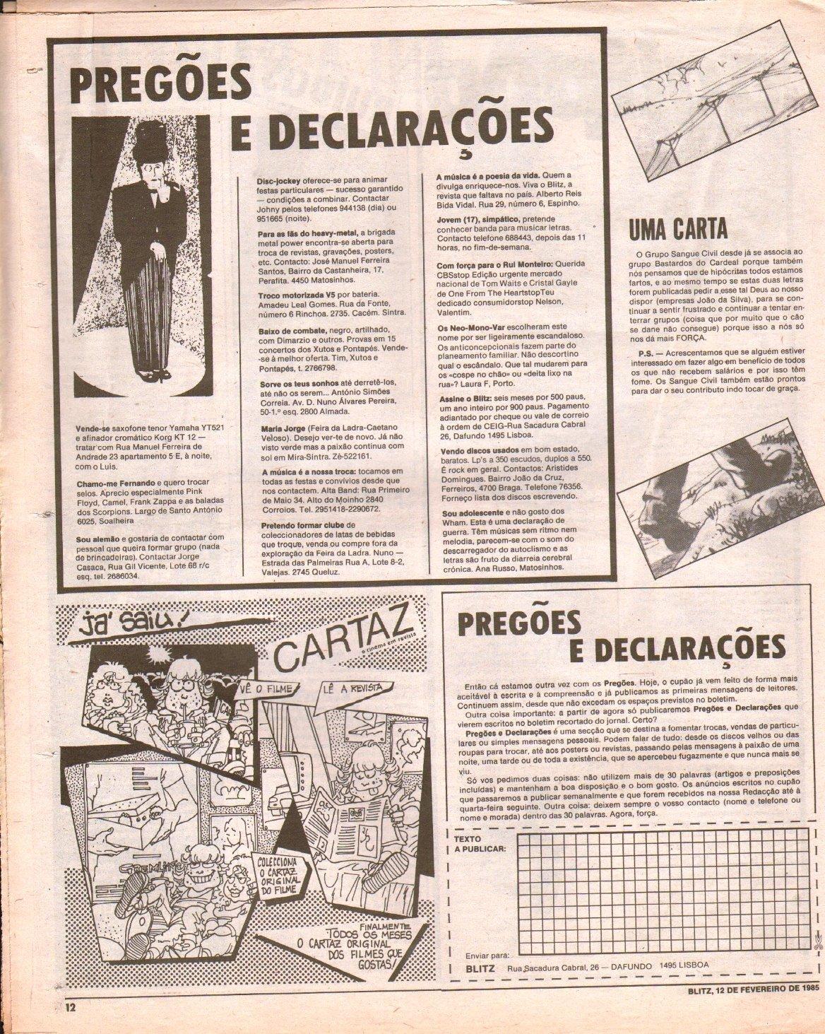 A secção Pregões e Declarações do jornal Blitz foi palco para originais mensagens de engate.