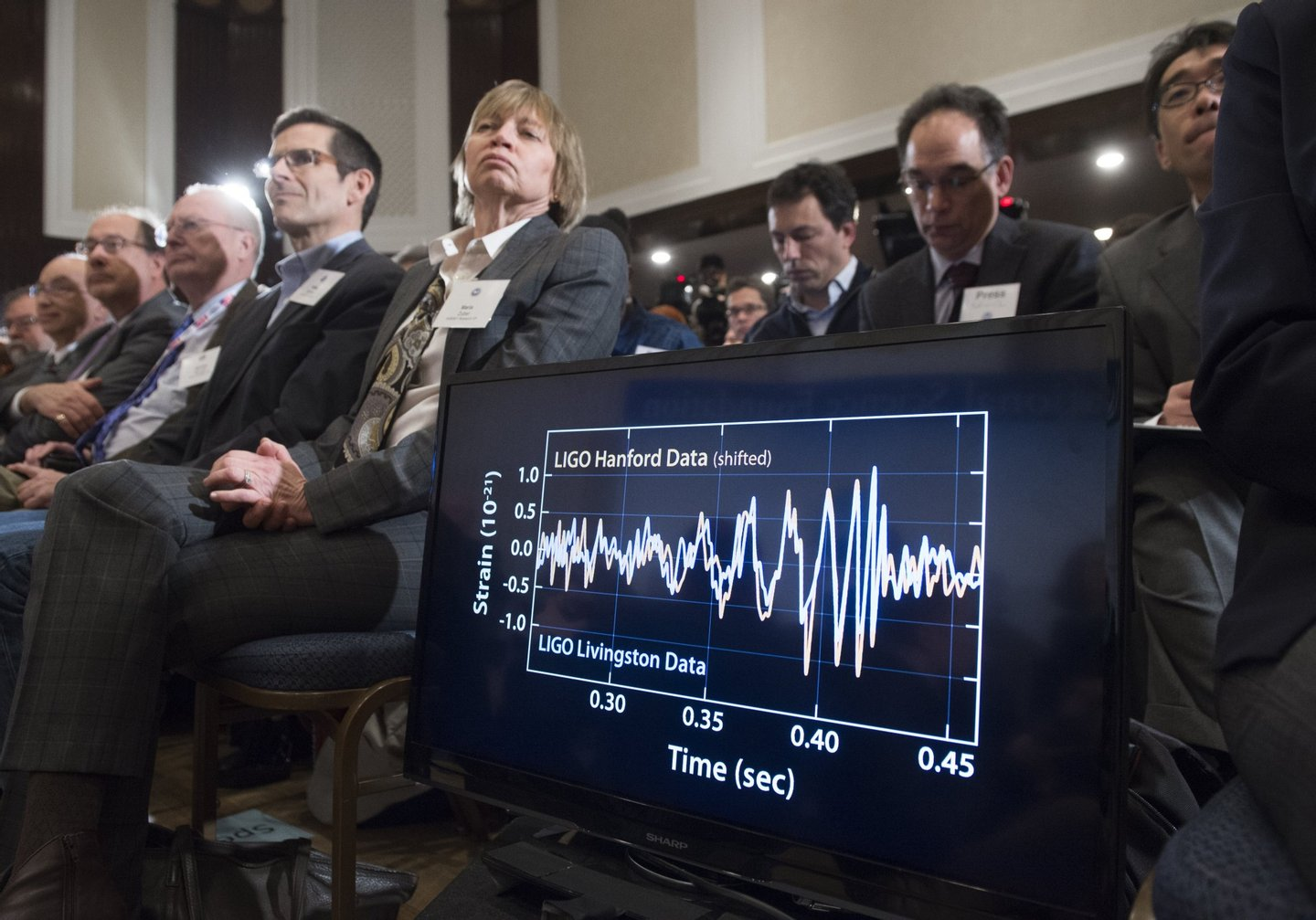 A screen displays a diagram showing the ripples in the fabric of spacetime called gravitational waves that scientists have observed for the first time by the LIGO detector, confirming a prediction of Albert Einstein's theory of relativity, during a press conference at the National Press Club in Washington, DC, February 11, 2016. The machines that gave scientists their first-ever glimpse at gravitational waves are the most advanced detectors ever built for sensing tiny vibrations in the universe.The two US-based underground detectors are known as the Laser Interferometer Gravitational-wave Observatory, or LIGO for short. / AFP / SAUL LOEB (Photo credit should read SAUL LOEB/AFP/Getty Images)