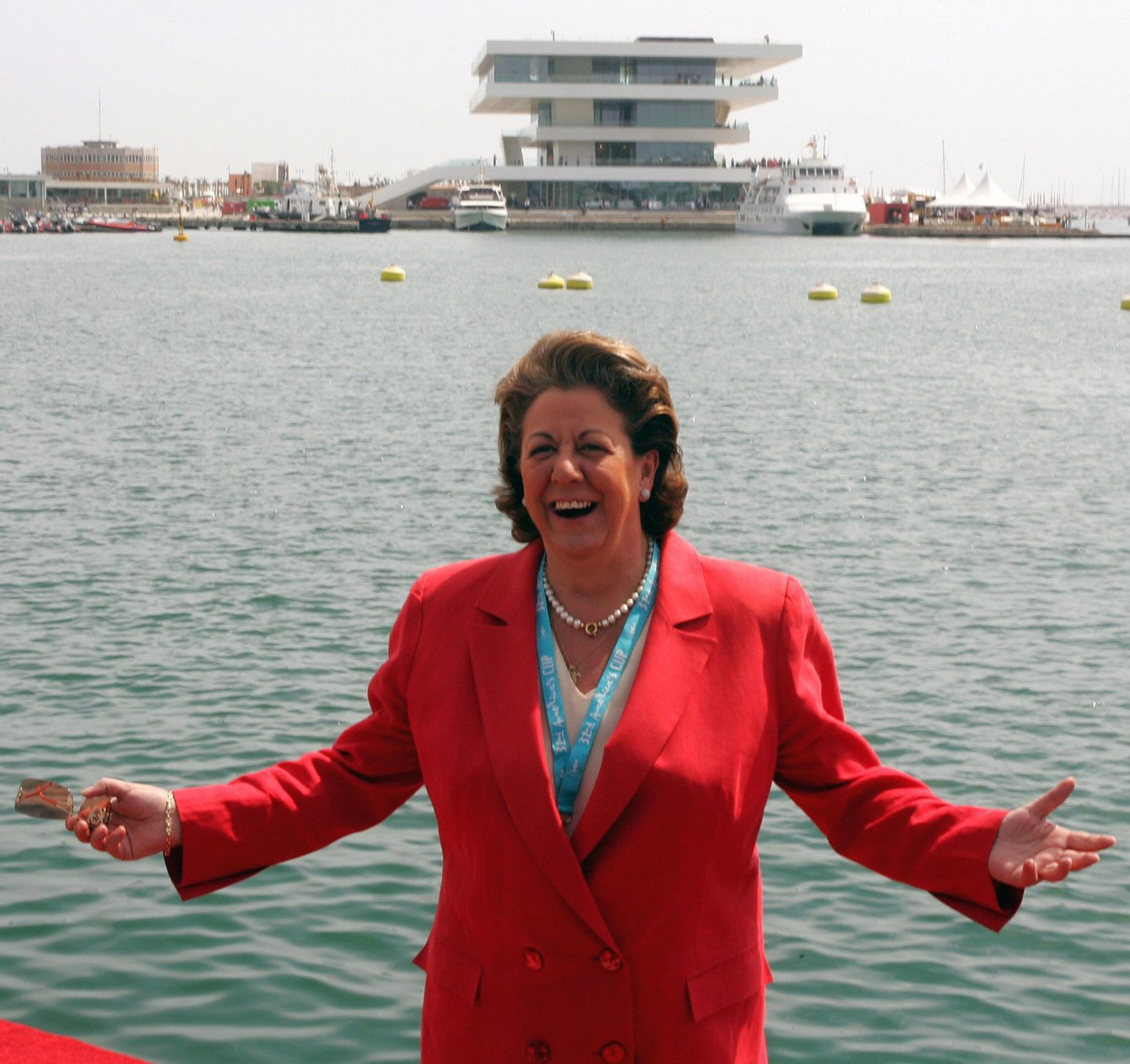 VALENCIA, SPAIN: Valencia's Mayor Rita Barbera poses at the America's Cup port in Valencia, 11 March 2007. The eleven teams who hope to take on the holders Alinghi in Valencia for the prestigious America's Cup are out on the open water training intensely just one month before the knock-out stages. AFP PHOTO/JOSE JORDAN (Photo credit should read JOSE JORDAN/AFP/Getty Images)