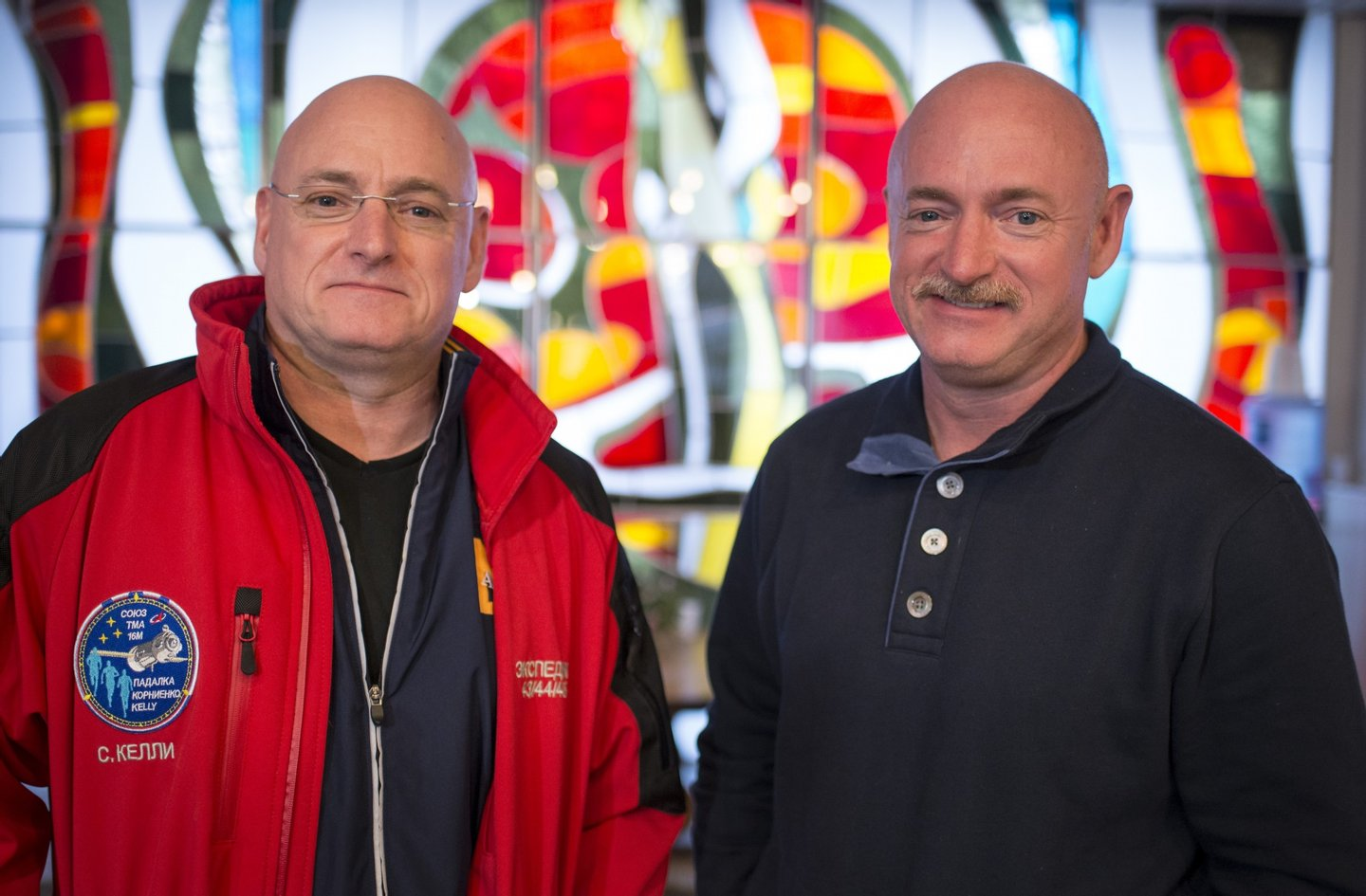 BAIKONUR, KAZAKHSTAN - MARCH 26: Expedition 43 NASA Astronaut Scott Kelly, left, and his identical twin brother Mark Kelly, pose for a photograph Thursday, March 26, 2015 at the Cosmonaut Hotel in Baikonur, Kazakhstan. Scott Kelly, and Russian Cosmonauts Mikhail Kornienko, and Gennady Padalka of the Russian Federal Space Agency (Roscosmos) are scheduled to launch to the International Space Station in the Soyuz TMA-16M spacecraft from the Baikonur Cosmodrome in Kazakhstan March 28, Kazakh time (March 27 Eastern time.) As the one-year crew, Kelly and Kornienko will return to Earth on Soyuz TMA-18M in March 2016. (Photo by Bill Ingalls/NASA via Getty Images)