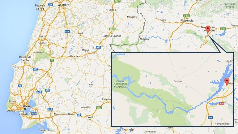 Localização da Central Nuclear de Almaraz, a 100 quilómetros da fronteira - Google Maps