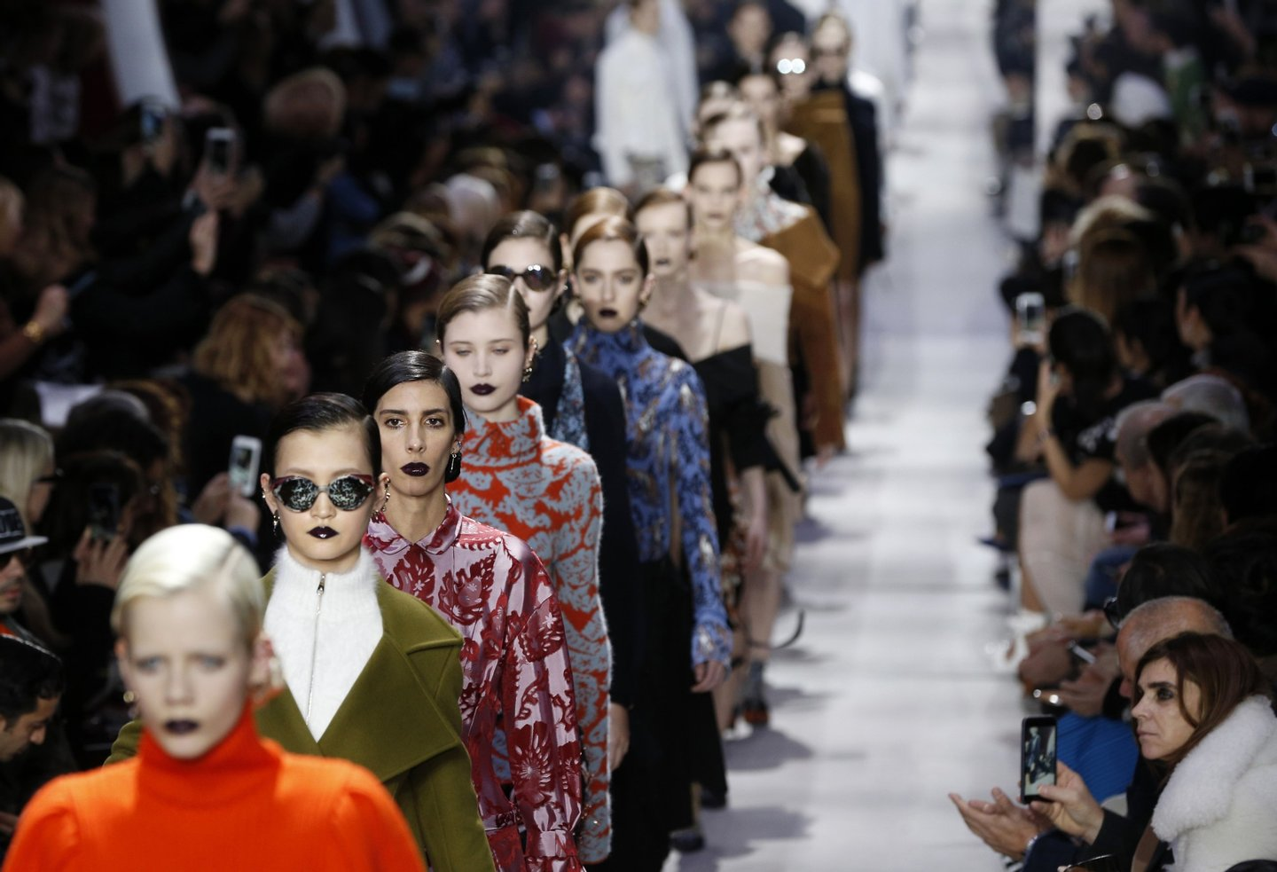 Models present creations for Christian Dior during the 2016-2017 fall/winter ready-to-wear collection fashion show on March 4, 2016 in Paris. AFP PHOTO / FRANCOIS GUILLOT / AFP / François GUILLOT (Photo credit should read FRANCOIS GUILLOT/AFP/Getty Images)