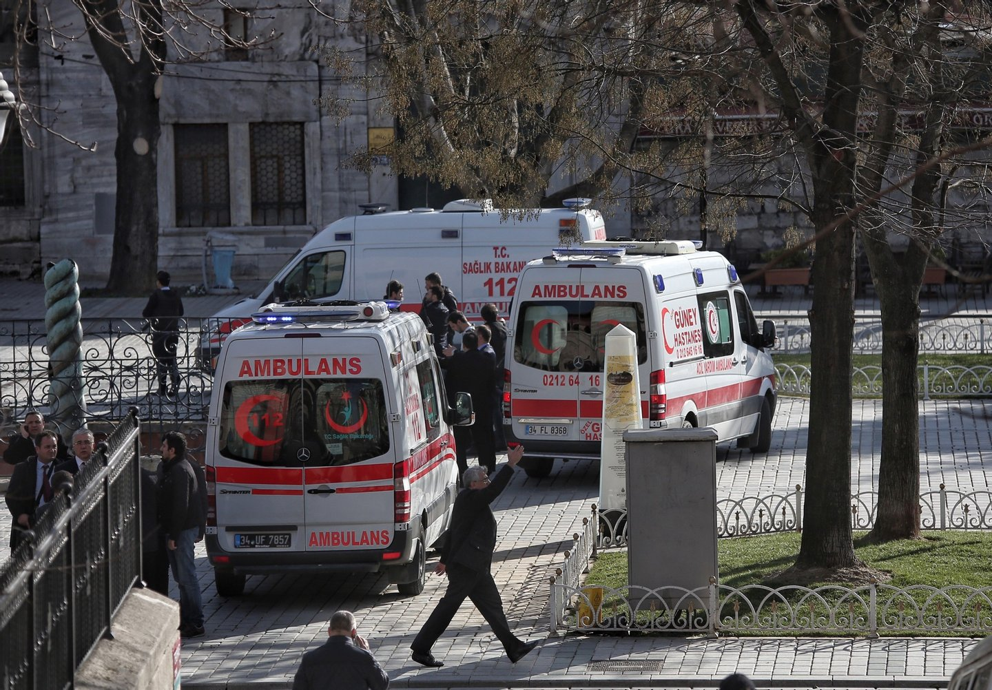 ISTANBUL, TURKEY -  JANUARY 12: Ambulances and police were despatched to the blast site after an explosion in the central Istanbul Sultanahmet district on January 12, 2016 in Istanbul, Turkey. At least 10 people have been killed and 15 wounded in a suicide bombing near tourists in the central Istanbul historic Sultanahmet district, which is home to world-famous monuments including the Blue Mosque and the Hagia Sophia. Turkish President Erdogan has stated that the suicide bomber was of Syrian origin. (Photo by Can Erok/Getty Images)