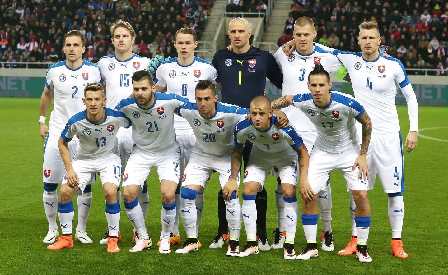 TRNAVA, SLOVAKIA - MARCH 25: The Slovakia team pose for a team photo during the international friendly match between Slovakia and Latvia held at Stadion Antona Malatinskeho on March 25, 2016 in Trnava, Slovakia. (Photo by David Rogers/Getty Images)