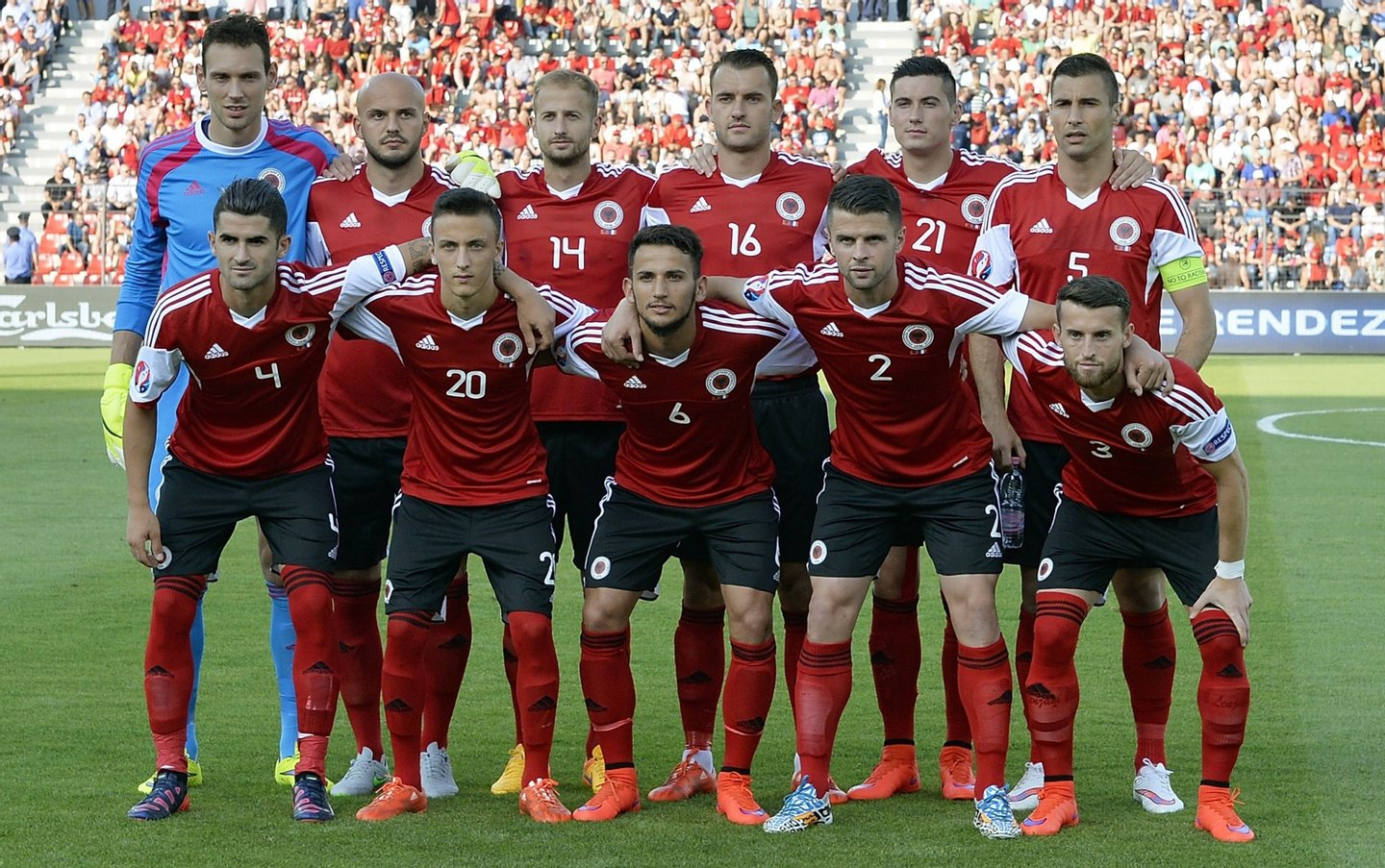 (FromL, 1st row) Albania's midfielder Elseid Hysaj, Albania's Ergys Kace, Albania's midfielder Naser Aliji, Albania's defender Andi Lila, Albania's defender Ermir Lenjani, (FromL, second row) Albania's goalkeeper Etrit Berisha, Albania's midfielder Arlind Ajeti, Albania's Migjen Basha, Albania's Sokol Cikalleshi, Albania's Odise Roshi, and Albania's midfielder Lorik Cana pose prior to a friendly football match Albania vs France on June 13, 2015 in Elbasan, outside Tirana. AFP PHOTO / LOIC VENANCE (Photo credit should read LOIC VENANCE/AFP/Getty Images)