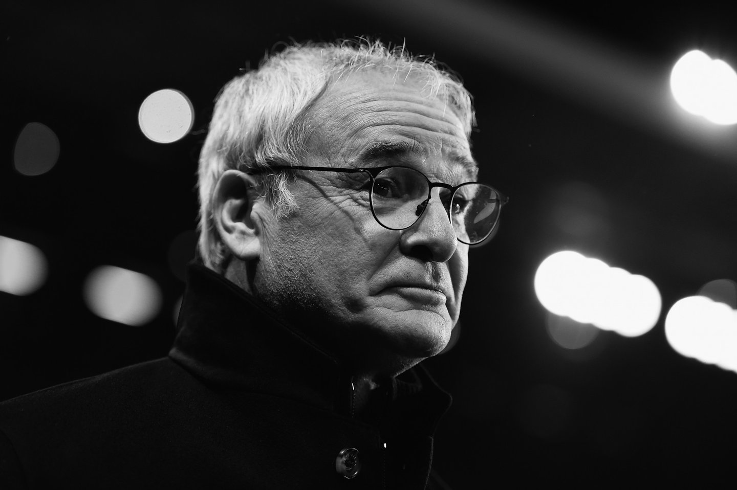 BIRMINGHAM, ENGLAND - JANUARY 16: (Editors notes: This image has been converted to black and white.) Claudio Ranieri of Leicester City looks on during the Barclays Premier League match between Aston Villa and Leicester City at The King Power Stadium on January 16, 2016 in Birmingham, England. (Photo by Laurence Griffiths/Getty Images)
