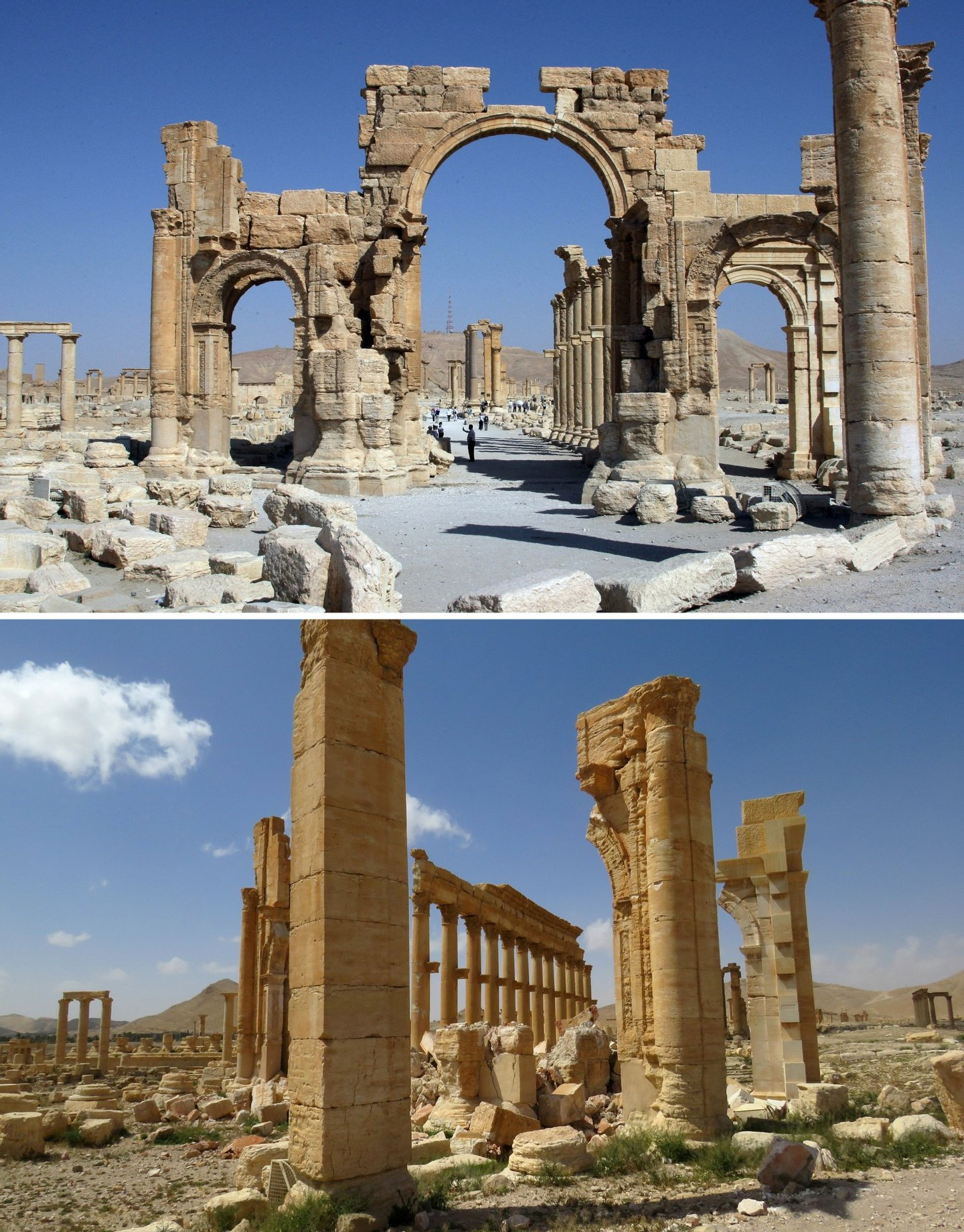 A combination of images shows a general view (top) taken on June 19, 2010 of the Arc de Troimphe (Triumph's Arc) prior to being destroyed by Islamic State (IS) group jihadists in October 2015 and the remains of the iconic structure after government troops recaptured the ancient city of Palmyra from IS fighters on March 27, 2016. Archaeologists were rushing to the ancient city of Palmyra on March 27, 2016 to assess the damage wreaked by the Islamic State group, after it was ousted by the Syrian army in a bloody battle. / AFP / LOUAI BESHARA AND STRINGER (Photo credit should read LOUAI BESHARA,STRINGER/AFP/Getty Images)