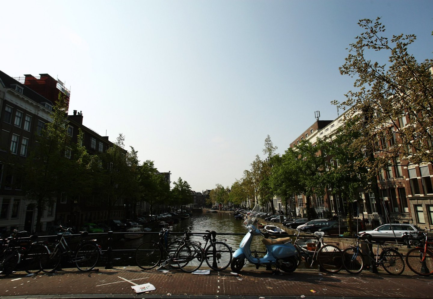 AMSTERDAM, NETHERLANDS - MAY 11: Bikes are chained to a bridge across a canal on May 11, 2009 in Amsterdam, Netherlands. The 750,000 people who live in Amsterdam own over 600,000 bicycles. (Photo by Mark Dadswell/Getty Images)