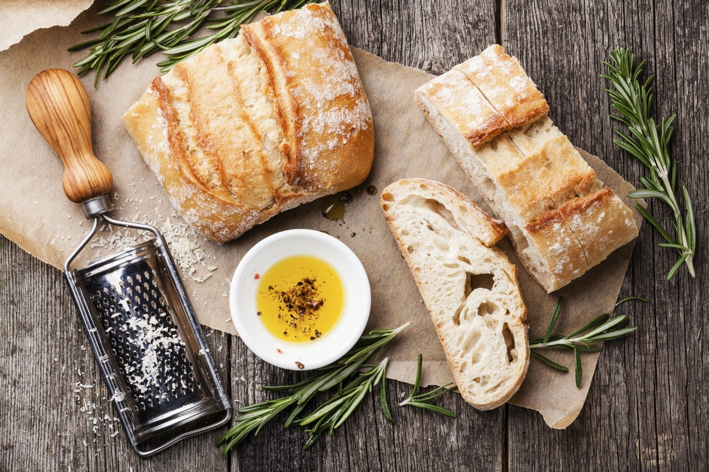 bread, bread ciabatta, ciabatta, cookware, eating, extra virgin, food, grater, ingredient, meal, oil, olive oil, olive wood, parmesan, pepper, rosemary, rustic, seasoning, snack, wooden,
